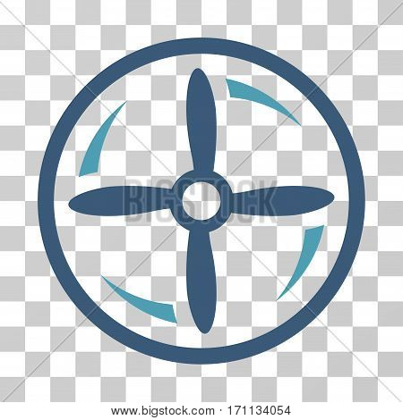 Drone Screw Rotation icon. Vector illustration style is flat iconic bicolor symbol cyan and blue colors transparent background. Designed for web and software interfaces.