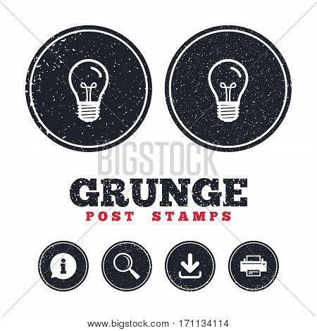 Grunge post stamps. Light bulb icon. Lamp E27 screw socket symbol. Illumination sign. Information, download and printer signs. Aged texture web buttons. Vector