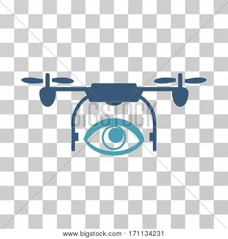 Eye Spy Drone icon. Vector illustration style is flat iconic bicolor symbol cyan and blue colors transparent background. Designed for web and software interfaces.