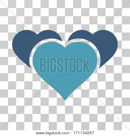 Favourite Hearts icon. Vector illustration style is flat iconic bicolor symbol cyan and blue colors transparent background. Designed for web and software interfaces.