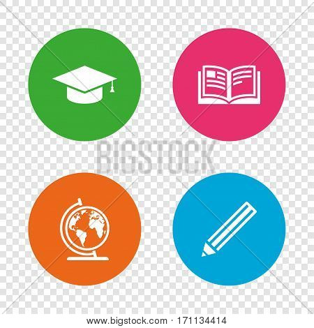 Pencil and open book icons. Graduation cap and geography globe symbols. Education learn signs. Round buttons on transparent background. Vector