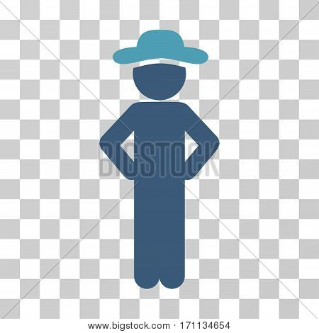 Gentleman Akimbo icon. Vector illustration style is flat iconic bicolor symbol cyan and blue colors transparent background. Designed for web and software interfaces.