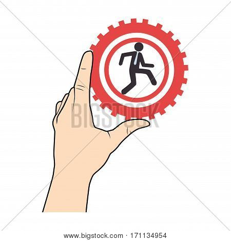 han holding a gear wheels with pictogram man executive inside vector illustration