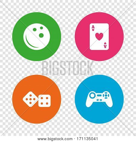 Bowling and Casino icons. Video game joystick and playing card with dice symbols. Entertainment signs. Round buttons on transparent background. Vector