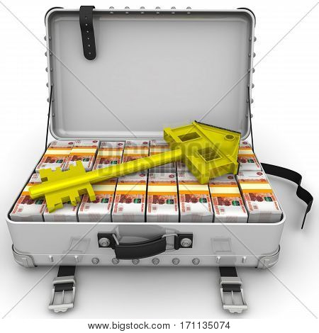 Money for the purchase of real estate. Golden key in the form of the house is lying on open suitcase filled with packs of Russian rubles. Isolated. 3D Illustration