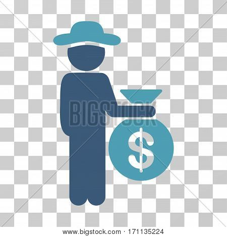 Gentleman Investor icon. Vector illustration style is flat iconic bicolor symbol cyan and blue colors transparent background. Designed for web and software interfaces.