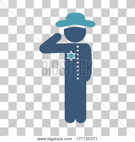Gentleman Officer icon. Vector illustration style is flat iconic bicolor symbol cyan and blue colors transparent background. Designed for web and software interfaces.