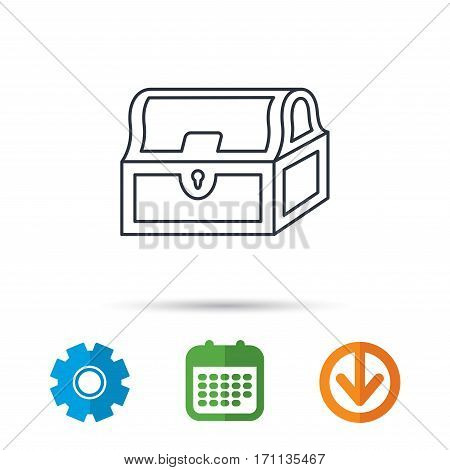 Treasure chest icon. Piratic treasury sign. Wealth symbol. Calendar, cogwheel and download arrow signs. Colored flat web icons. Vector