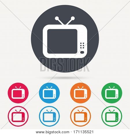 TV icon. Retro television symbol. Round circle buttons. Colored flat web icons. Vector