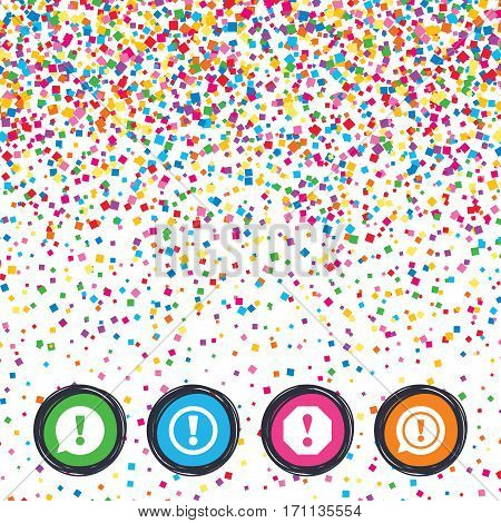 Web buttons on background of confetti. Attention icons. Exclamation speech bubble symbols. Caution signs. Bright stylish design. Vector