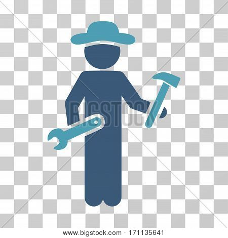 Gentleman Serviceman icon. Vector illustration style is flat iconic bicolor symbol cyan and blue colors transparent background. Designed for web and software interfaces.