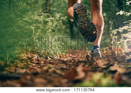 Leg detail of a competitive, athletic young man running off road outdoors through the woods on a trail in the afternoon wearing sportswear.