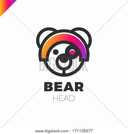 Space Robot Bear Logo. Toy Store Lgotype