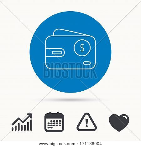 Dollar wallet icon. USD cash money bag sign. Calendar, attention sign and growth chart. Button with web icon. Vector