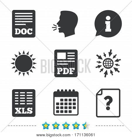 File document and question icons. XLS, PDF and DOC file symbols. Download or save doc signs. Information, go to web and calendar icons. Sun and loud speak symbol. Vector