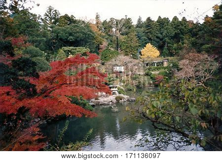 A view of autumn foliage in the gardens around a pond at the Narita-san Shinshō-ji Shingon Buddhist temple in Narita, Japan, during November.