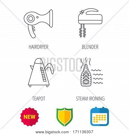 Steam ironing, kettle and blender icons. Hairdryer linear sign. Shield protection, calendar and new tag web icons. Vector