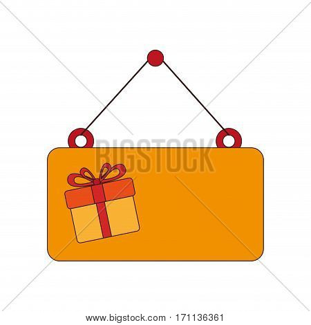 holding plaque with colorful box gift with ribbon bow vector illustration