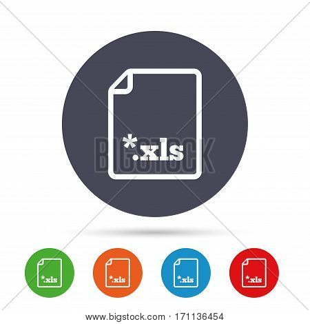 Excel file document icon. Download xls button. XLS file extension symbol. Round colourful buttons with flat icons. Vector