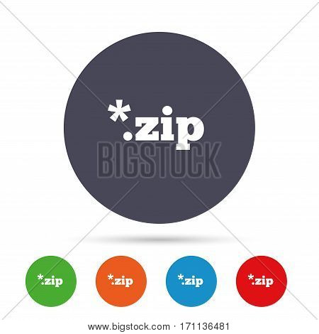 Archive file icon. Download compressed file button. ZIP zipped file extension symbol. Round colourful buttons with flat icons. Vector