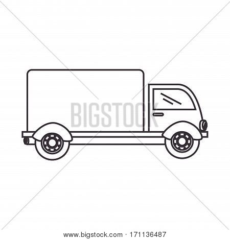 silhouette truck with wagon icon flat vector illustration