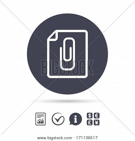 File annex icon. Paper clip symbol. Attach symbol. Report document, information and check tick icons. Currency exchange. Vector