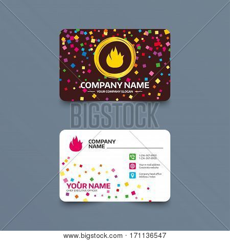Business card template with confetti pieces. Fire flame sign icon. Fire symbol. Stop fire. Escape from fire. Phone, web and location icons. Visiting card  Vector
