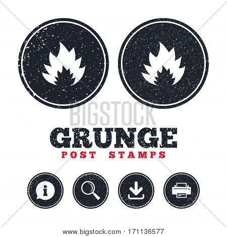 Grunge post stamps. Fire flame sign icon. Heat symbol. Stop fire. Escape from fire. Information, download and printer signs. Aged texture web buttons. Vector