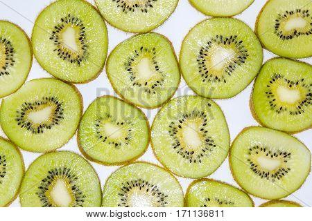 Kiwi Segments, Texture Of A Kiwi.