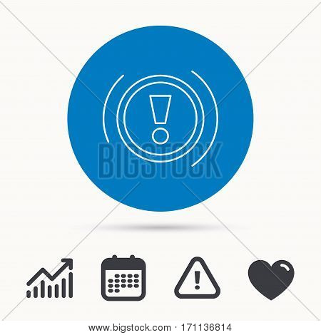 Warning icon. Dashboard attention sign. Caution exclamation mark symbol. Calendar, attention sign and growth chart. Button with web icon. Vector