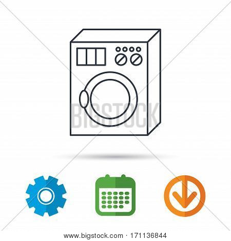 Washing machine icon. Washer sign. Calendar, cogwheel and download arrow signs. Colored flat web icons. Vector