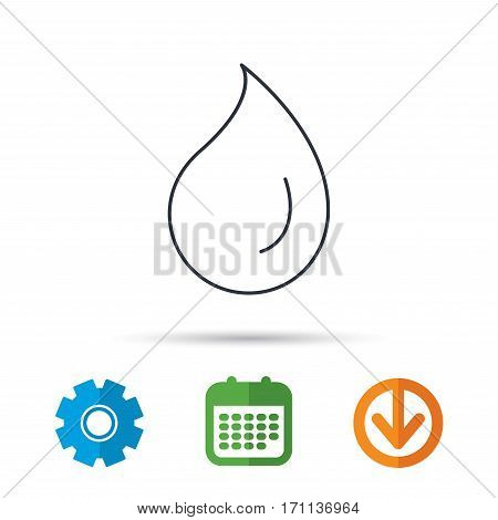 Water drop icon. Liquid sign. Freshness, condensation or washing symbol. Calendar, cogwheel and download arrow signs. Colored flat web icons. Vector