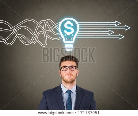 Finance Idea Concepts Working over Human Head on Visual Screen