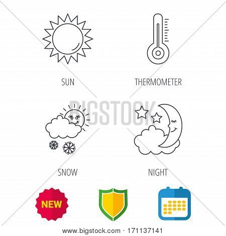 Thermometer, sun and snow icons. Moon night linear sign. Shield protection, calendar and new tag web icons. Vector