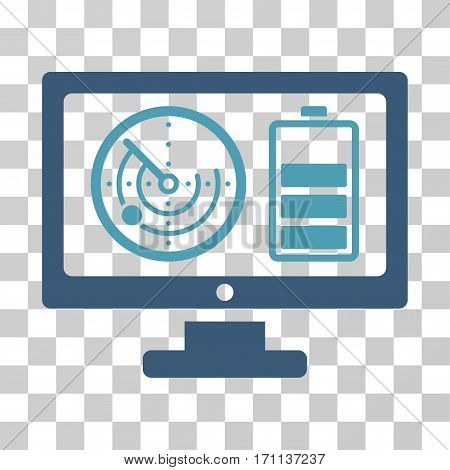 Radar Battery Control Monitor icon. Vector illustration style is flat iconic bicolor symbol cyan and blue colors transparent background. Designed for web and software interfaces.