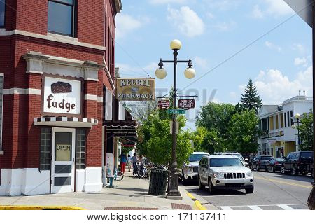 HARBOR SPRINGS, MICHIGAN / UNITED STATES - AUGUST 4, 2016: One may purchase fudge at Howse's Fudge Shop, on the ground floor of the historic Harbor Springs Christian Association Library building, in downtown Harbor Springs.