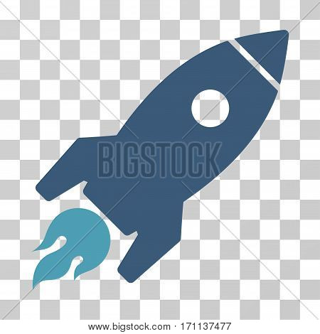 Rocket Launch icon. Vector illustration style is flat iconic bicolor symbol cyan and blue colors transparent background. Designed for web and software interfaces.