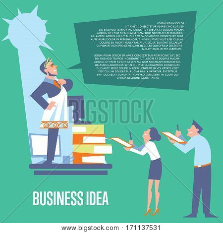 Big boss in roman toga and laurel wreath standing on office table before subordinate workers. Business idea banner, isolated vector illustration on green background. Teamwork concept. Startup idea