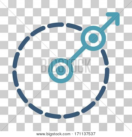 Round Area Exit icon. Vector illustration style is flat iconic bicolor symbol cyan and blue colors transparent background. Designed for web and software interfaces.