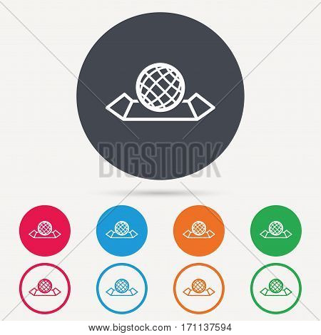 World map icon. Globe sign. Travel location symbol. Round circle buttons. Colored flat web icons. Vector