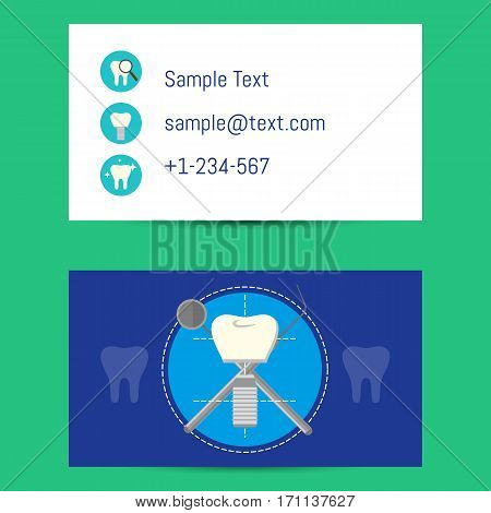 Professional business card template for dentists with tooth implant and dentist equipment, vector illustration. Dental office or clinic visiting card. Dental care concept