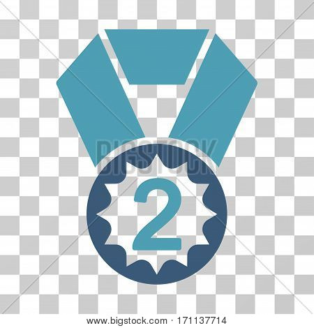 Second Place icon. Vector illustration style is flat iconic bicolor symbol cyan and blue colors transparent background. Designed for web and software interfaces.
