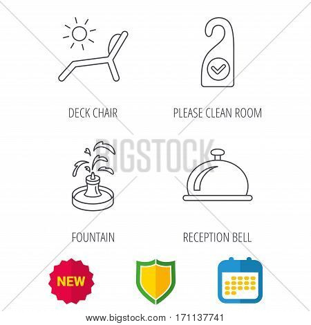 Reception bell, fountain and beach deck chair icons. Clean room linear sign. Shield protection, calendar and new tag web icons. Vector