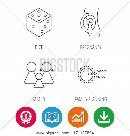 Pregnancy, family and family planning icons. Dice linear sign. Award medal, growth chart and opened book web icons. Download arrow. Vector