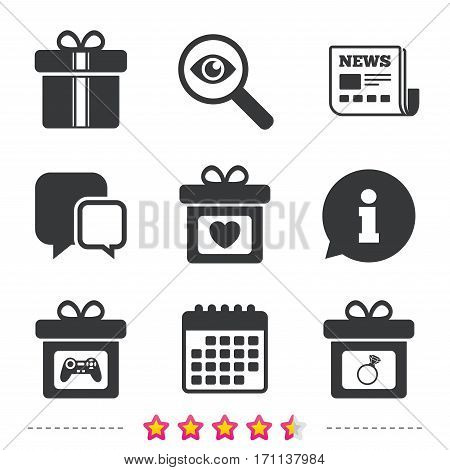 Gift box sign icons. Present with bow and ribbons symbols. Engagement ring sign. Video game joystick. Newspaper, information and calendar icons. Investigate magnifier, chat symbol. Vector