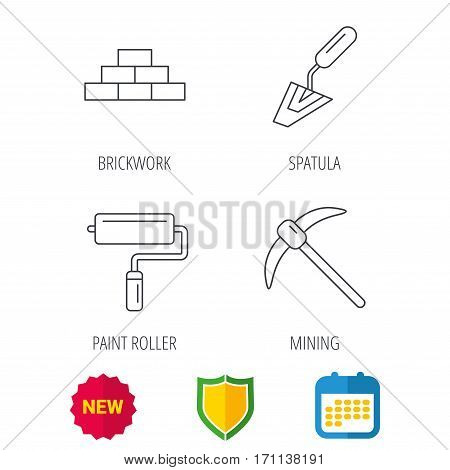 Brickwork, spatula and mining icons. Paint roller linear sign. Shield protection, calendar and new tag web icons. Vector