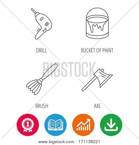 Drill tool, bucket of paint and axe icons. Brush linear sign. Award medal, growth chart and opened book web icons. Download arrow. Vector