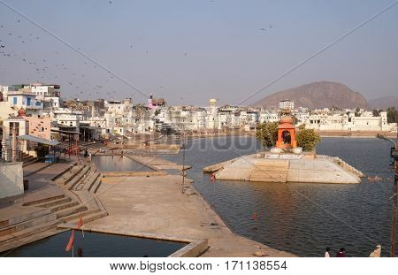 PUSHKAR, INDIA - FEBRUARY 17: Pushkar lake or Pushkar Sarovar at Pushkar, Rajasthan, India, Holy Hindu City, on February 17, 2016.