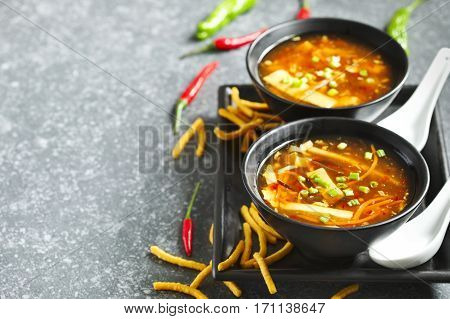 Hot and Sour Soup on the table top view