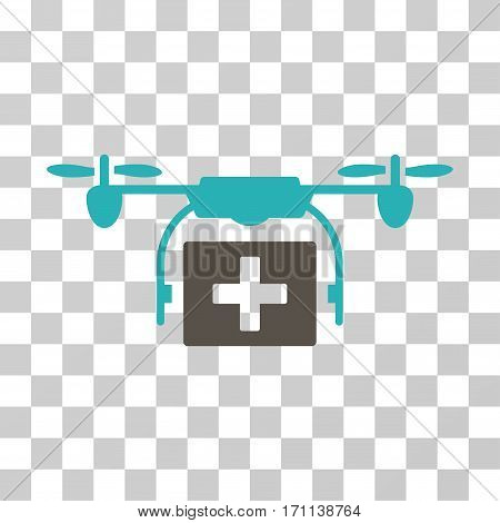Ambulance Drone icon. Vector illustration style is flat iconic bicolor symbol grey and cyan colors transparent background. Designed for web and software interfaces.